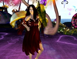 Arriving in Dreams - wearing Nadira in Red, from Simply Fae
