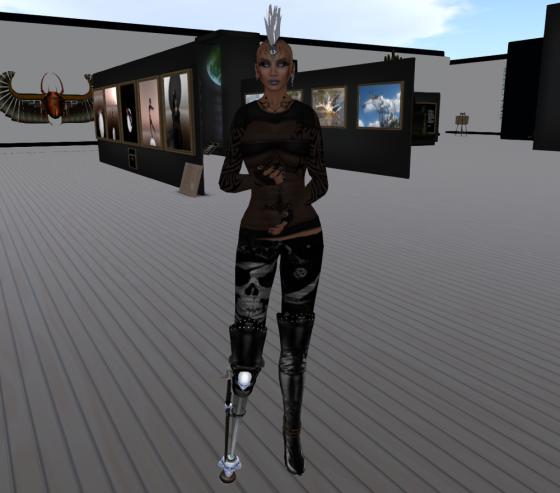 Tiana wearing her peg leg.